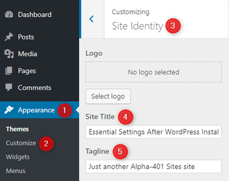 change-wordpress-default-site-title-and-tagline-using-customizer