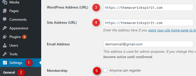 set-wordpress-and-site-address-disable-enable-user-registration-general-settings